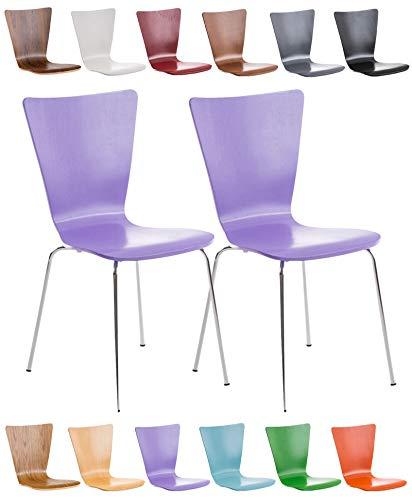 CLP Lot de 2 Chaises Empilables Aaron I Chaises Visiteur en Bois Dossier Siège Ergonomique et Confortable I Hauteur Assise 45 cm I Couleur: Violet