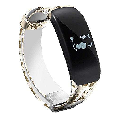 Lemumu Schwimmen Übung Hheart Herzfrequenz Messgerät Schritt wasserdicht Ring Camouflage Gurt intelligente Hand Ring Schickes Armband, Weiß -