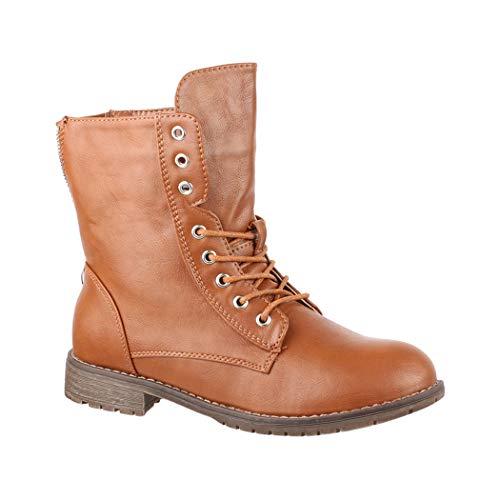 Elara Damen Stiefeletten | Bequeme Biker Boots | Lederoptik Schnürstiefeletten KA16-22SL-camel-38