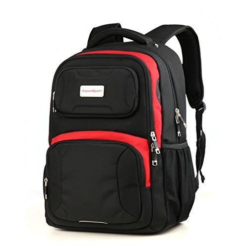 AspenSport Laptop Rucksack bis 43,2cm mehrere Gepolsterte Daypacks für Notebook Computer Travel Bags Rucksack mit reißfest Design as-b283?, schwarz / rot