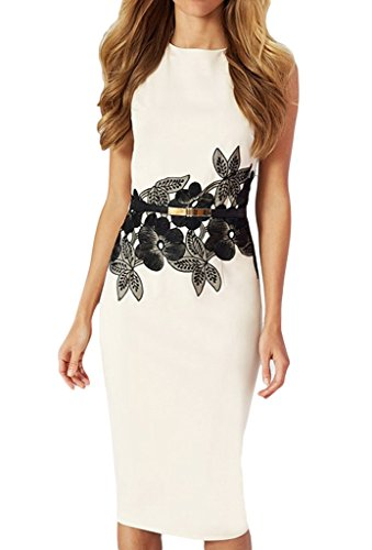 Smile YKK Reizvoll Damen Slim Fit Sommerkleid Schlankkleid A-linie Kleid Knielanges Kleid Bodycon Kleid Ärmellos Weiß