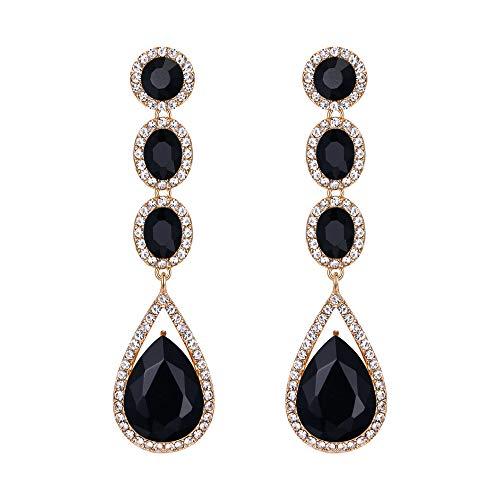 EVER FAITH Mujer Cristal Austríaco Boda Moda Lágrima Araña Largo Pendientes Colgante Negro Tono Dorado