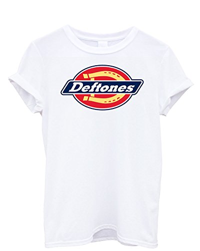 T-shirt Uomo - Deftones maglietta con stampa rock 100% cotonee LaMAGLIERIA,M, Bianco
