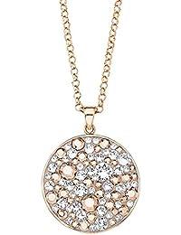 Noelani Damen-Kette Erbskette 80 cm mit Anhänger Plakette Kreis Swarovski Elements Kristall mehrfarbig