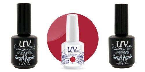 UV-Nails Vernis a Ongles Soak-Off Gel 15ml Beautiful Bouquet #214 + Base & Top Coat 15ml + Aviva Polissoir a ongles