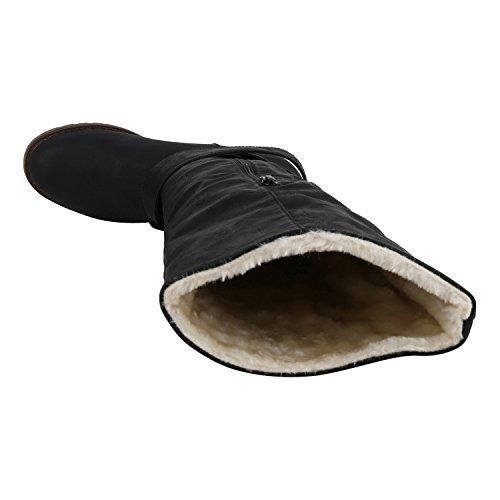 napoli-fashion Klassische Damen Stiefel Schnallen Leder-Optik Booties Jennika Schwarz Nero Black All