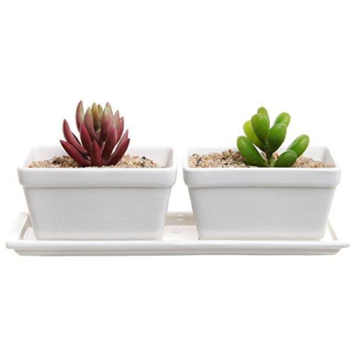 MyGift Petite moderne 2 pièces en céramique Blanc Rebord de fenêtre Jardinière W/Plateau amovible/pot de fleurs artificielles