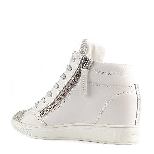 Crime London Chaussures Java Baskets Montantes en Cuir Blanc Femme Blanc