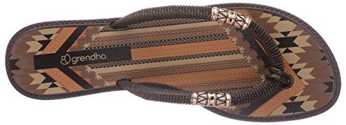 Grendha Tribale Thong Damen Zehentrenner Schwarz (Black/Brown 90010)