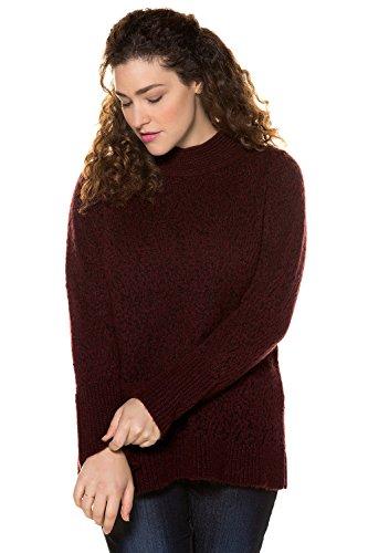 Ulla Popken Damen Große Größen   Pullover aus Grobstrick   Leicht Transparent   Ausgestellte Bündchen   Stehkragen   bis Größe 62+   Brombeere 42/44 713572 50-42+