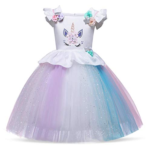 AmzBarley Vestito da Festa Ragazza Bambina Fiore Ragazze Partito Abito con Abiti da Damigella d'Onore Principessa Abito Tutu Senza Maniche Festa Compleanno Nozze Vestire