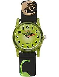 Reloj niño chico infantil, analógico de cuarzo DINOSAURIO T rex con correa de goma en caja de regalo, Resistente al, Mecanismo Seiko, Batería Sony, negro verde, Kiddus RE0259