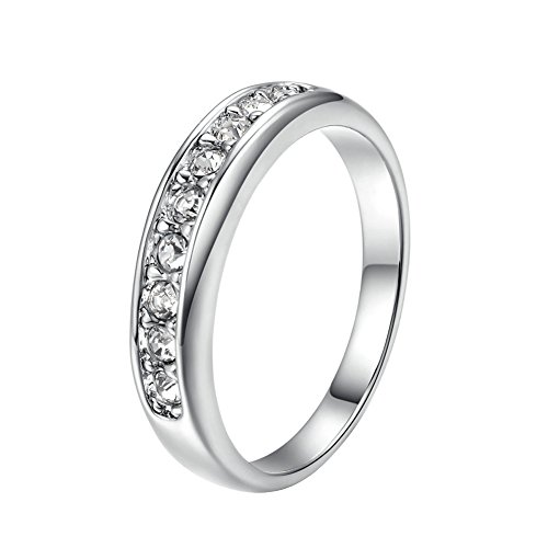 Yoursfs anillos Chapado en Oro Blanco con Cristal Austriaco brillante tamaño 13 para mujeres