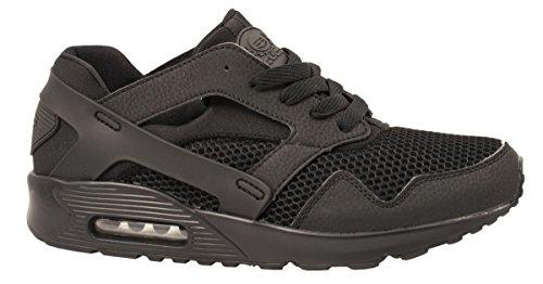 Elara Herren Sneaker | Trendy Fitness Sportschuhe | Turnschuhe Schnürer Schwarz