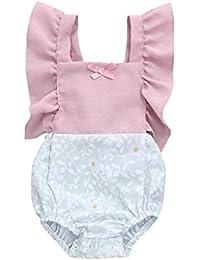 XXYsm Baby Strampler M/ädchen Langarm Set Jeans R/üschen/ärmel Einfarbig Overall Haarband Neugeborene Kleidung Outfits 0-24 Monate