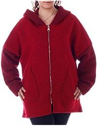 Damen Wollmantel Wolljacke Big Zipper mit Kapuze Einheitsgröße: 36/42