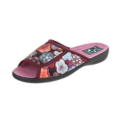 Chaussures femme Baskets mode Plat Chaussons Pantoufles Ital-Design rouge Multi 22338