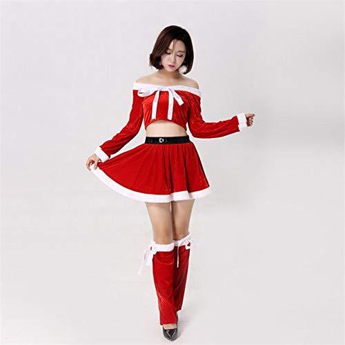 CVCCV Weihnachten rot Langarm sexy Split Rock Weihnachten Spiel uniform Party Erwachsene weibliche Nachtclub kostüme Baumwollgewebe (Weiblich Elfen Weihnachten)