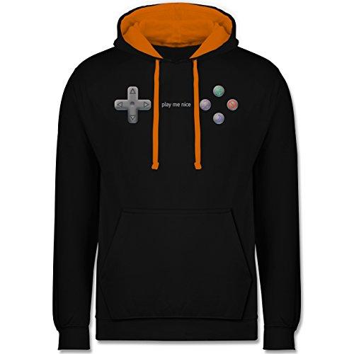 Nerds & Geeks - Play me nice - Kontrast Hoodie Schwarz/Orange