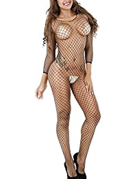 Frauen Bodystocking Fishnet Bodysuit Crotchless Fasicat Dessous One Size Schwarz