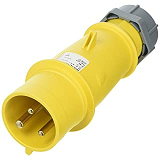 MENNEKES 259 AMV-TOP Single Part Body Plug, IP 44 Protection, 4 hours Earth Position, 3 Pole, 32 A Current, 110V, Yellow
