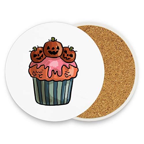 Montoj Gruselige Halloween-Cupcake-Untersetzer für Getränke, einzigartiges Geschenk für Freunde, saugfähige Untersetzer für Getränke, Holz, 1, 4 pieces set