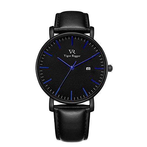 BUREI Montre unisexe ultra mince et minimaliste Montres-bracelets avec cadran grand format et calendrier de date Bracelet en cuir de veau minéral et bracelet en acier inoxydable (Bleu-C)