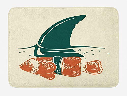 PdGAmats Shark Bath Mat, Pop Art Clown Fish with Shark Fin Camouflage Cheat Humor Strategy Beware Theme 23.6 W X 15.7W Inches (Cheats Für W)