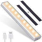 OUSFOT Schrankleuchten LED Bewegungsmelder Unterbauleuchten für Küche kabellos Kleiderschrank Nachtlicht mit 2 Magnetstreifen Warmweiß Verpackung MEHRWEG