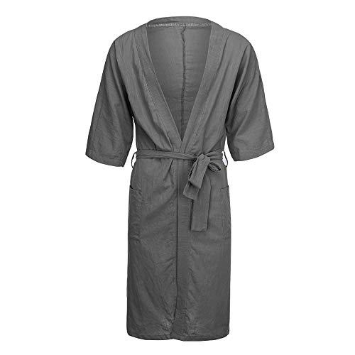 HANGYIKJ Männer und Frauen Langarm Pyjamas Lange Leinen Pyjamas Bademäntel
