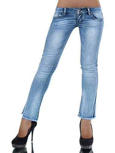 L342 Damen Jeans Hose Hüfthose Damenjeans Hüftjeans Bootcut Gerades Bein , Farben:Blau;Größen:36 (S) (Jeans Gestreift Gerades Bein)