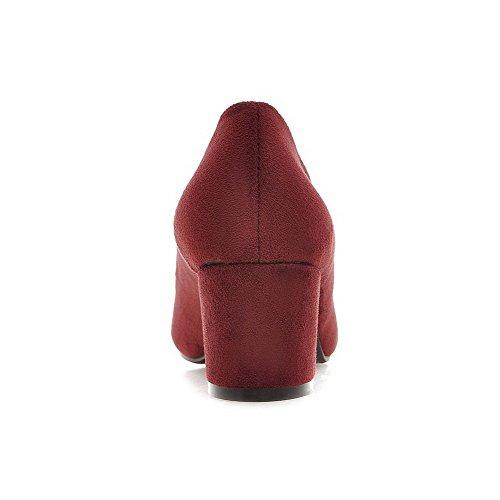 AllhqFashion Femme à Talon Correct Dépolissement Mosaïque Tire Carré Chaussures Légeres Rouge