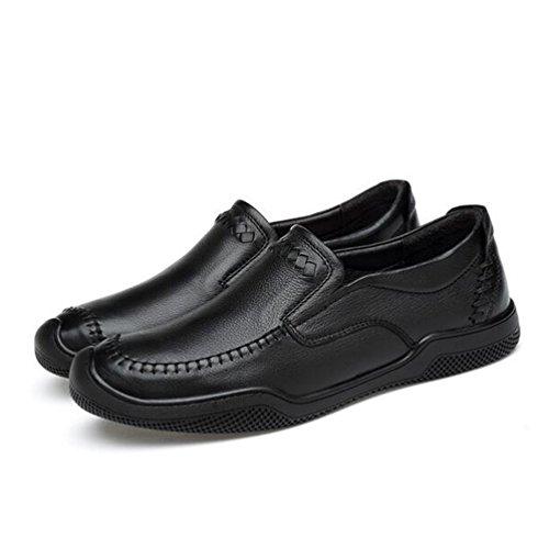 Onfly New Herren Lederschuhe Casual Business Schuhe Comfort Driving Schuhe Herren Low-Top Sneakers Schwarz eu size (Farbe : B, Größe : 42) (Top Driving-schuhe)