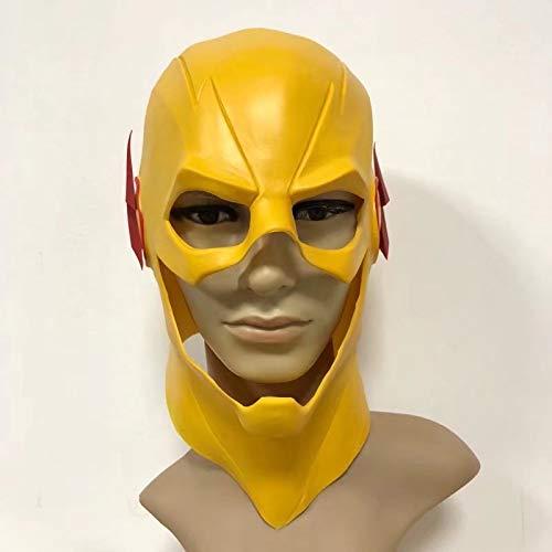 Reverse-Flash Maske Dc Barry Allen Maske Der Flash Cosplay Kostüm Prop Halloween Gelb Voller Kopf Latex Party Masken Erwachsene (Der Flash Kostüm)