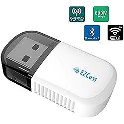 Lemorele Clé Adaptateur USB WiFi AC 600Mbps USB Bluetooth 4.2 Adaptateur WiFi Dongle Double Bande 5G/2.5G Réseau pour Windows XP /7/8/10, Mac OS, Xbox/PS4/Nintendo Switch Controller