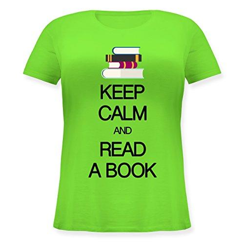 Keep calm - Keep calm and read a book - Lockeres Damen-Shirt in großen Größen mit Rundhalsausschnitt Hellgrün
