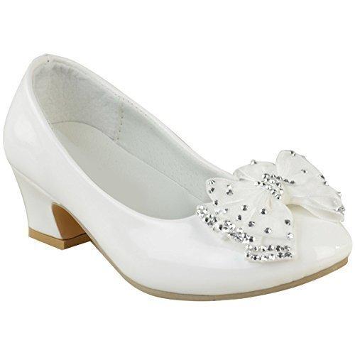 Sandales pour fille - petit talon/noeud avec diamants - mariage - enfant - Verni blanc/diamant argent/brillant - EUR 31