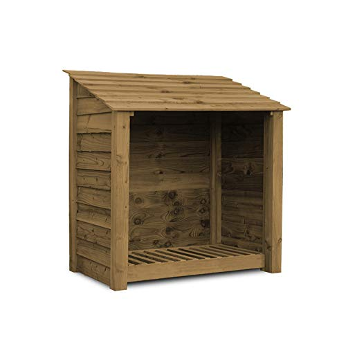 Rutland County Garden Furniture GREETHAM 4FT - WOODEN LOG STORE/GARDEN STORAGE, BROWN, HEAVY DUTY, HAND MADE, PRESSURE TREATED.