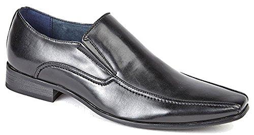 Route21 Paire de chaussures pour homme avec double soufflet et doublure en cuir Tailles 39-48 Noir - noir