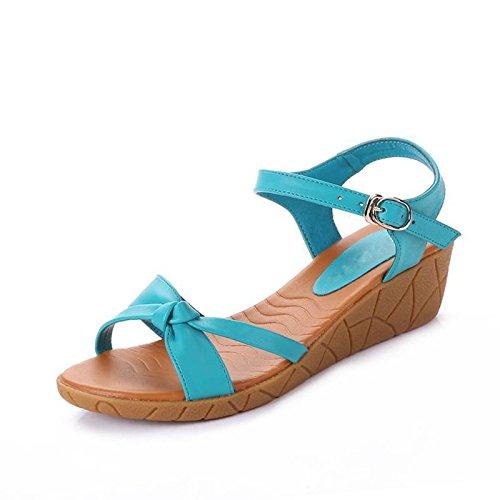 XY&GKKeil Sandaletten flache Unterseite mit komfortablen wasserdichten Plattform nackten Po Beach Sandalen, komfortabel und schön 36 green