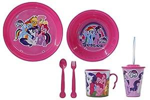 Jamara 410129 My Little Pony - Vajilla Infantil (8 Piezas, Apto para lavavajillas, Plato, Taza, Cuenco para Cereales, Tenedor, Cuchara, Vaso con Tapa y Pajita), Color Rosa