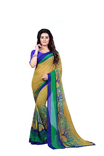 Anand Sarees Faux Georgette Printed Green Color With blouse piece ( 1341...