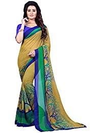 Kashvi Sarees Faux Georgette Printed Green Color With Blouse Piece ( 1341 )