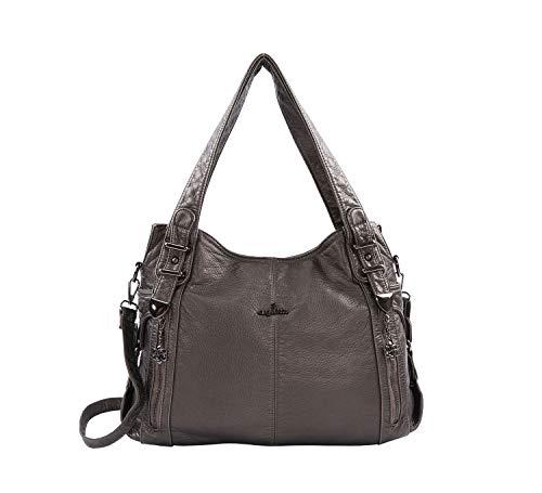 DEERWORD Damen Handtaschen Frauen Schultertaschen Umhängetaschen PU-Leder Bowlingtaschen Grau -