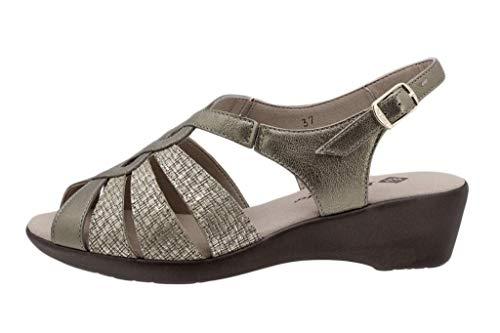 Zapato Cómodo Mujer Sandalia Cuña Metal Vison 190392
