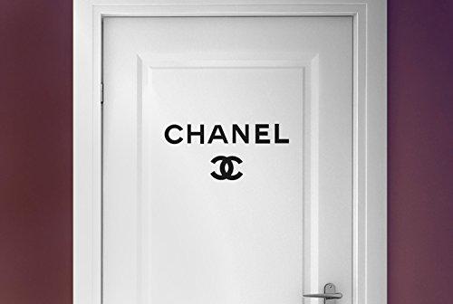 Preisvergleich Produktbild chanel logo Tür Zimmer Wandtattoos / Wandaufkleber - Schwarz (Höhe 43cm x Breite 40cm)