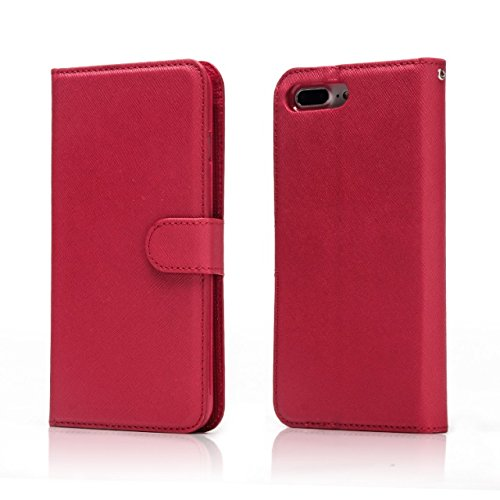Hülle für iPhone 7 plus , Schutzhülle Für IPhone 7 Plus, Solid Color Cross Lines Muster 2 In 1 Style PU Ledertasche Geldbörse Tasche Tasche mit Kickstand & Lanyard ,hülle für iPhone 7 plus , case for  Red