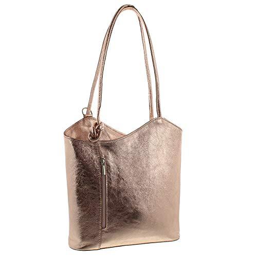 IO.IO.MIO Leder Rucksack oder Schultertasche für Damen freie Farbwahl rot/schwarz/blau/grün/grau/braun/Cognac/dunkelblau/rosa/türkis/Silber/metallic (Rosegold-metallic)