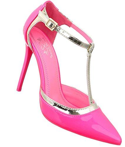 Damen Pumps Schuhe High Heels Stöckelschuhe Stiletto Pink 36