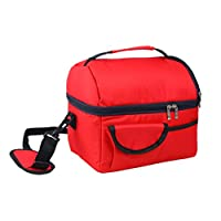 ‏‪WSLCN 8 L Double Thicken Heat Preservation Cold Insulation Bag Ice Pack Cooler Food Storage Bag Travel Picnic Baskets Camping Picnic Backpacks Red‬‏